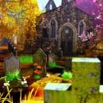 Autumn in Cemetery 3D render — Stock Photo