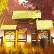 Traditional Wooden Gate in Japanese Garden 3D render — Stock Photo