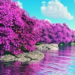 Mysterious Cherry Blossoms Japanese Garden at Lake 3D render - Foto de Stock