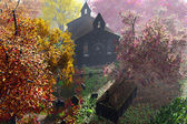 Autumn in Cemetery 3D render 6 — Stock Photo