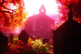 Autumn in Cemetery 3D render 4 — Stock Photo