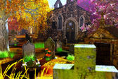Autumn in Cemetery 3D render — Stock Photo