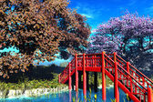 Traditional Bridge in Japanese Garden 3D render — Stock Photo