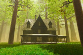 Scary House in Deep Forest 3D render 2 — Stock Photo