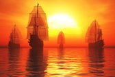 Old Battleships in the Sunset 3D render — Stock Photo