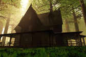 Scary House in Deep Forest 3D render — Stock Photo