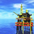 Oil Platform in the Sea and Tanker 3D render — Stock Photo
