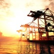 Industrial Port sunset sunrise 3D render — Stock Photo