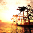 rendu 3d de sunrise sunset industrialo-portuaire — Photo #18420249