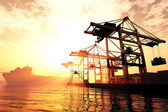 Industrial Port sunset sunrise 3D render — 图库照片