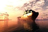 工业港口日落日出 3d 渲染 — 图库照片