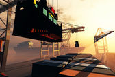 Industriehafens sonnenuntergang sonnenaufgang 3d render — Stockfoto