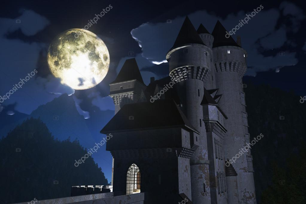 Castle at Night in the Mountains 3D render — Stock Photo #18420385