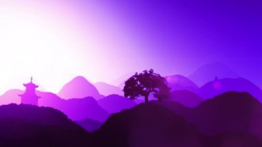 Por do sol mágico sobre montanhas e pagode no contexto — Vídeo stock