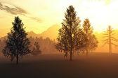 Forêt du Nord hiver illustrations 3d — Photo