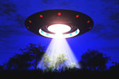 Ufo Flying on Earth at Night over Field — Stock Photo
