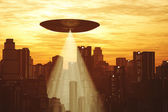Ufo Invasion over Metropolis — Stock Photo