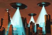 Ufo Invasion over Metropolis — Stock Photo