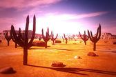 Desert Saguaro Cactus Field 3D artwork — Stock Photo