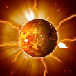 Red Planet Sun Flares Storm Erupting — Stock Photo #9923429