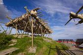 Suszenie sztokfisz w norwegii — Zdjęcie stockowe