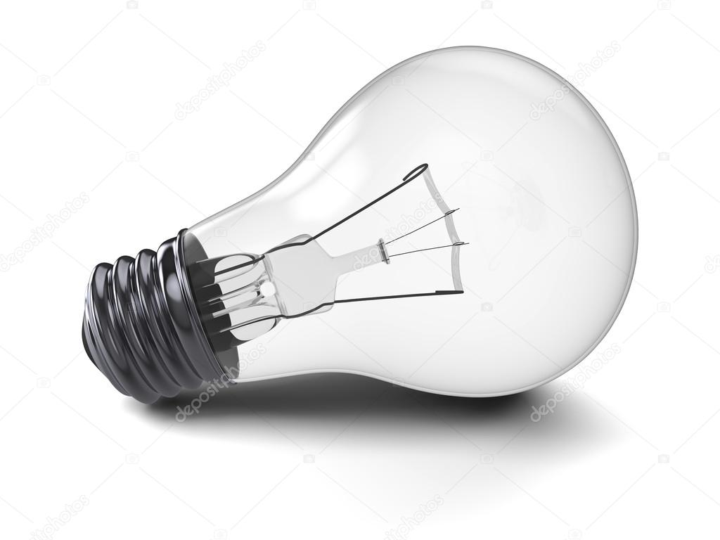 Illustration of lightbulb isolated on white background  Stock Photo #12874725