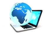 Laptop with globe — Stock Photo