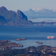 Cruise ship in fjord on Lofoten — Stock Photo