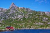 Fishing hut in fjord — Stock Photo