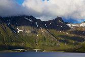 Bridge across fjord — Stock Photo