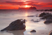 Midnight sun on Lofoten — Stock Photo