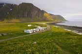 Caravans on Lofoten islands — Stock Photo