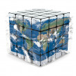 Earth cube with atmosphere - Stock Photo
