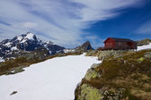 Norwegian mountain hut — Stock Photo
