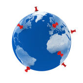Pins on Earth — Stock Photo
