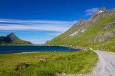 Schilderachtige weg op de lofoten — Stockfoto
