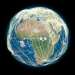 Connected world Africa view — Stock Photo