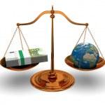 sprawiedliwości i pieniądze — Zdjęcie stockowe