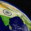 Постер, плакат: India with flag from space