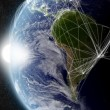 Stock Photo: Network over South America