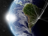 Network over South America — Stock Photo