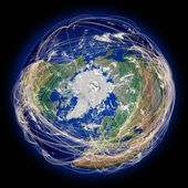Flight paths on northern hemisphere — Stock Photo