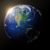 Sun over North America on planet Earth — Stock Photo