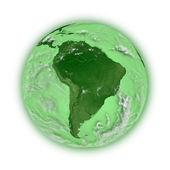 South America on green planet Earth — Stock Photo