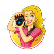 Woman Photographer — Stock Vector