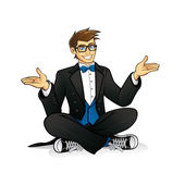 Executive Geek Sitting — Vector de stock