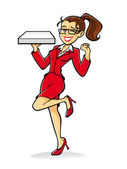 Pizza Girl Cheer — Vector de stock