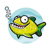 Green Piranha — Stock Vector
