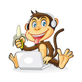 Monkey Laptop — Stock Vector
