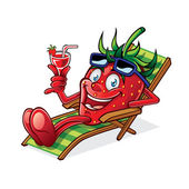 Berry on Beach Chair — Vector de stock